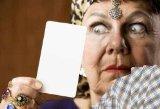 Gypsy Fortune Teller Hiolding a Blank Tarot Card - 52