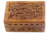 Wooden Storage Box - Carved Flowers & Vines - 4