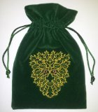 Green Man Embroidered Luxury Green Velvet Drawstring Tarot and Oracle Card Bag