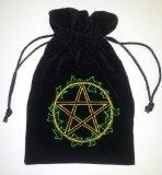 Ivy Leaf Pentacle Luxury Black Velvet Drawstring Tarot or Oracle Card Bag