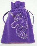 Unicorn Embroidered Purple Luxury Velvet Drawstring Tarot / Oracle Card Bag