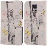 Boilfish,Samsung Galaxy S5,Art Series,Slim Style,Card Holder,Stand,Folio Flip Cover Case,The Statue of Liberty Design