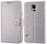 Boilfish,Samsung Galaxy S5,Bling PU Leather,Card Holder,Stand,Folio Flip Cover Case,Silver